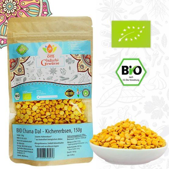 BIO Chana Dal, Indische Hülsenfrüchte, gelbe Linsen, Kichererbsen geschält halbiert, 150g