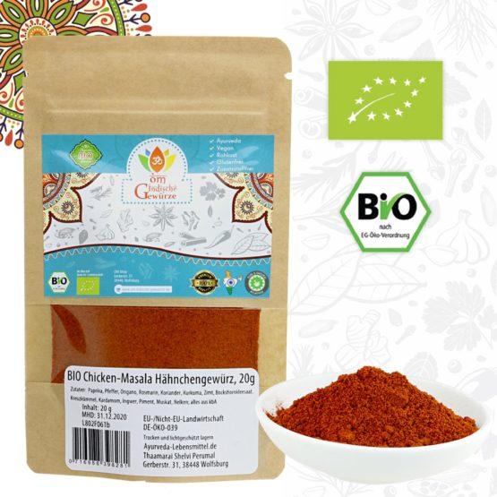 BIO Chicken Curry Masala, Hähnchen-Curry Gewürzmischung, Gewürzzubereitung, 20g
