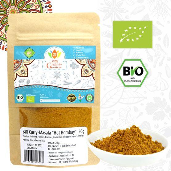 BIO Curry Masala, Hot Bombay Indische Gewürzmischung, Gewürzzubereitung, 20g