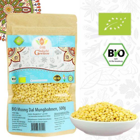 BIO Moong Dal, Mung Dal, Mungbohnen, geschält, 500g