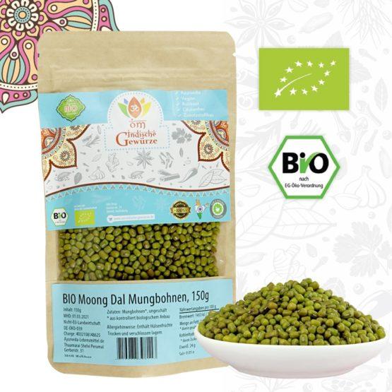 BIO Mungbohnen, grüne Mungobohnen, Mung Dal, Indische Hülsenfrüchte, ganz, 150g